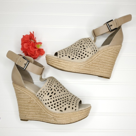 5a98f639dc Marc Fisher Shoes | Laser Cut Espadrilles Wedge Sandals | Poshmark